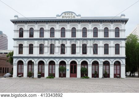 LOS ANGELES - SEPT 2, 2018: Pico House. Pio Pico, the last Mexican Governor of Alta California, ordered construction of a luxury hotel in 1869.