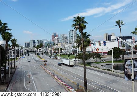 LONG BEACH, CALIFORNIA - JAN 30, 2019: Shoreline Drive, Long Beach. Once a year the city street is part of the course for the Toyota Grand Prix of Long Beach auto race.