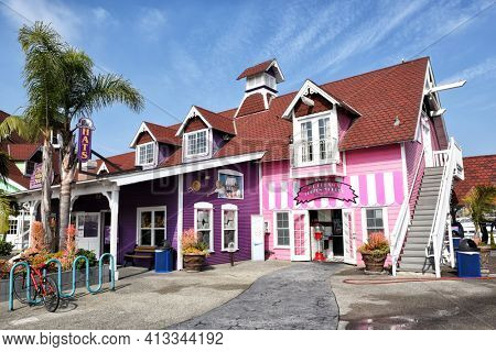 LONG BEACH, CALIFORNIA - 06 MAR 2020: Ice Cream Shop and The Village Hats at Shoreline Village, Rainbow Harbor.