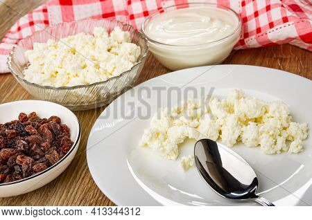Checkered Napkin, Bowl With Raisin, Transparent Glass Bowls With Cottage Cheese And Sour Cream, Spoo