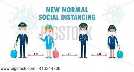 New Normal Lifestyle Concept. Social Distancing, Pilot And Stewardess Wearing Face Mask Protect Coro