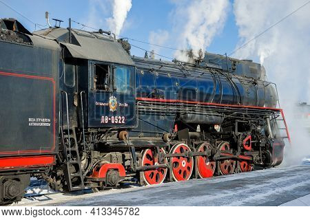 Sortavala, Russia - March 10, 2021: Soviet Mainline Freight Steam Locomotive Lv-0522 Close-up On Sor