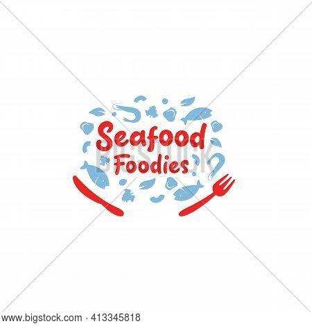 Seafood Foodies Restaurant Catering Gourmet Logo Icon Symbol With Fish Shrimp Mushroom Vector Illust