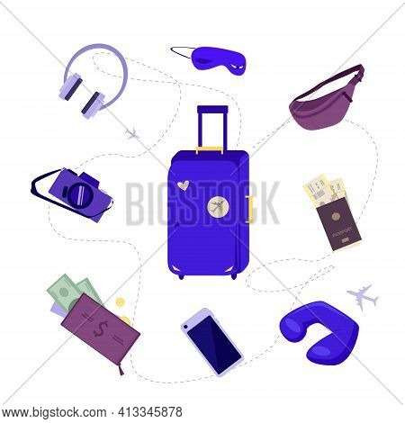 The Right Set Of Items For Traveling By Plane. A Suitcase, Documents, Headphones, A Camera And A Sle