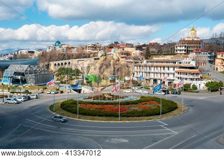 Tbilisi, Georgia - 13 March, 2021: View Of Georgian Capital Of Tbilisi