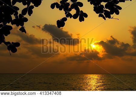 Sunset In Lonely Beach And Silhouette On Evening At Koh Chang Thailand. Koh Chang Is Located In The