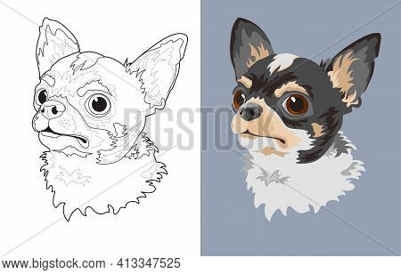 Dog Breed Chihuahua. Pet Head Flat And Linear. Vector.