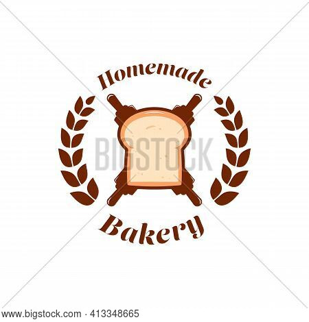Homemade Bakery Shop Bread Logo With Bakery Rolling Pin Icon Symbol In Classic Style