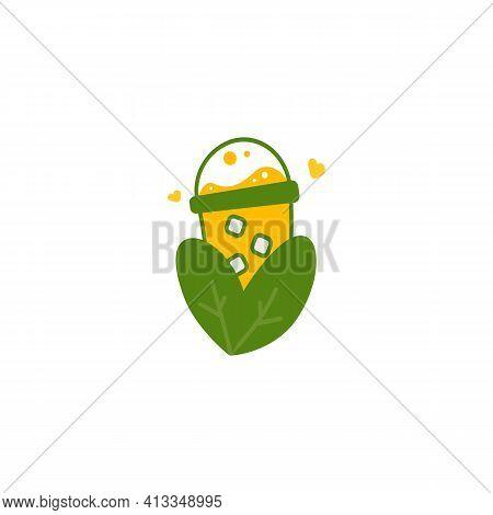 Yellow Juice Sweet Corn Drink Nature Logo Icon Illustration Symbol