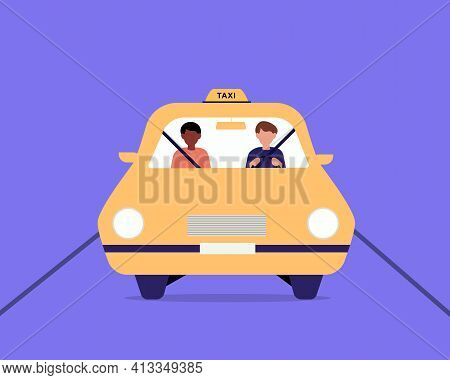 Taxi Driver And Passenger Sitting In Front Seat In Cab. A Front View Of A Taxi Cab, Driver And Passe