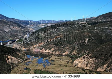 River in Vale of Lecrin, Las Alpujarras, Spain.