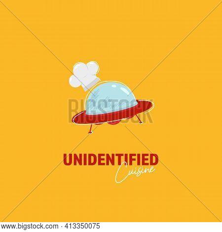 Unidentified Cuisine Logo With Alien Ufo Wear Chef Hat Flying In Cartoon Scrabble Unique Illustratio