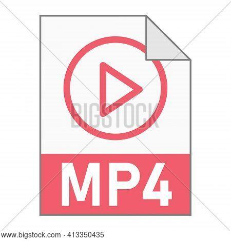 Modern Flat Design Of Mp4 Illustration File Icon For Web
