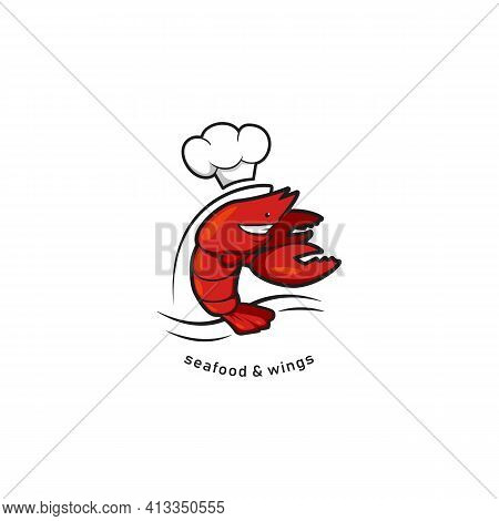 Red Crayfish Lobster With Chef Hat Character Mascot, Seafood And Wings Bistro Restaurant Cafe Logo I
