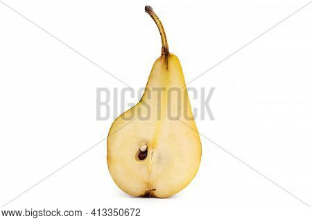 Half Of Ripe Pear On A White.