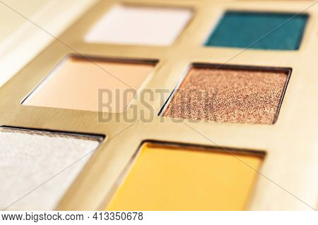 Colorful Makeup Palette. Close Up. Abstract Background.
