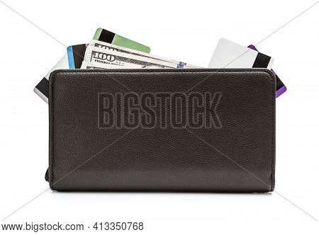 Mens Wallet With Credit Card And Money On White.