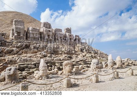 Panoramic View Onto Complex Of Ancient Statues Of Gods, Mount Nemrut, Kahta, Turkey. Heads Fell Duri