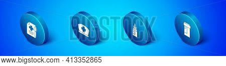 Set Isometric Medical Prescription And Pen, Bottle Nasal Spray, Medicine Bottle And Nurse Hat With C