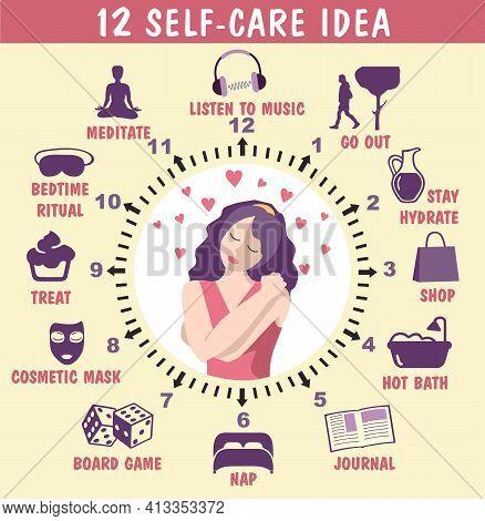 12 Self-care Ideas. Self Care Concept Infographics. Vector Flat Illustration, Banner. Woman Self Car