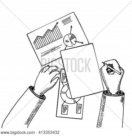 Top View Business Analyst Or Auditor Working On Statistical Data Paper Documents With Spreadsheets M