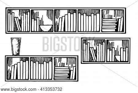Bookshelves Sketch. Hand Drawn Interior Elements. Books On The Bookshelf. Hand Drawn Sketch Illustra