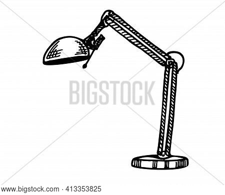 Lamp Sketch Vector Illustration. Table Lamp Vector Sketch Icon Isolated On Background. Hand Drawn Ta
