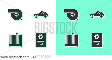 Set Auto Service Check Automotive, Automotive Turbocharger, Car Radiator Cooling System And Broken C