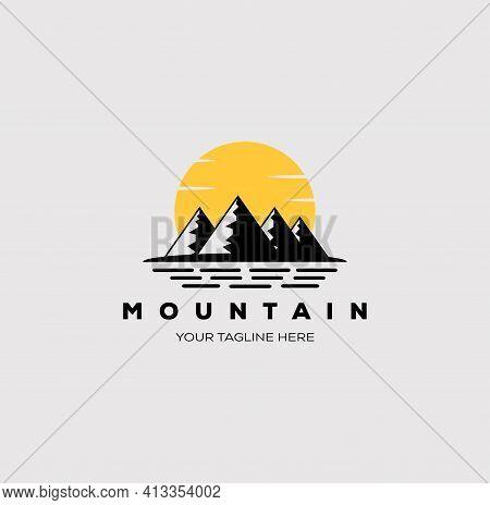 Mountain, lake, sun, and sea logo vector illustration design