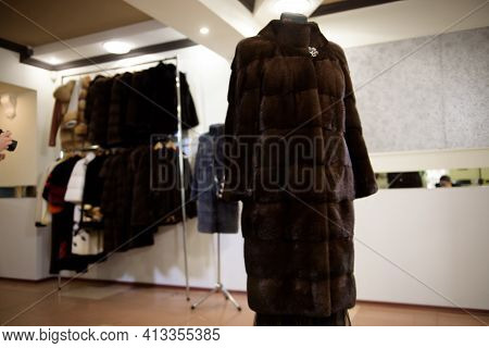 Fur Coats Made For Ladies And Exposed For Sale. Fur Coats On Display, Fur Coats For Women