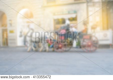 Blurry Abstract Outdoor Backgroud, People Or Tourist Travelling Summer Season In Europe .travel And