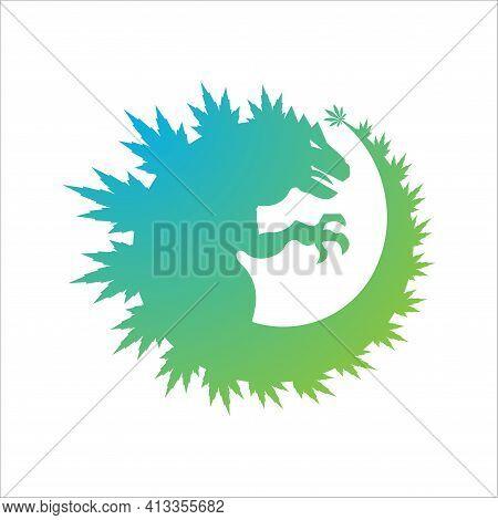 Playful Logo Featuring A Green Cannabis Incorporated Godzilla, Dragon Or Giant Reptil . Cannabis Tri