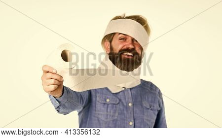 Hipster Guy Having Fun. Softness Strength And Absorbency. Prevent Toilet Paper Hoarding. Shortage Of