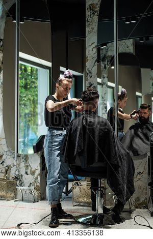 Male Trendy Hairdo. Perfect Haircut With Blade Razor. Barber Master Cut Hair. Mature Hipster With Be