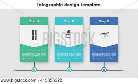 Set Ski And Sticks, Windsurfing And Hang Glider. Business Infographic Template. Vector