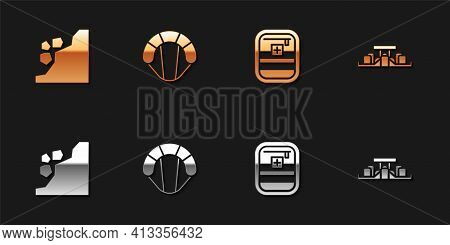 Set Landslide, Parachute, First Aid Kit And Formula 1 Racing Car Icon. Vector