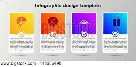 Set Bicycle Helmet, Helmet, Formula 1 Racing Car And Aqualung. Business Infographic Template. Vector