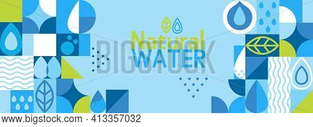 Natural Water, Horizontal Geometric Banner In Flat Style.drink More Water.geometry Minimalistic Wate