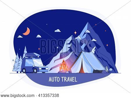 Car On Rocky Mountains Silhouette, Night Landscape. Planning Summer Vacations World Travel By Car Su