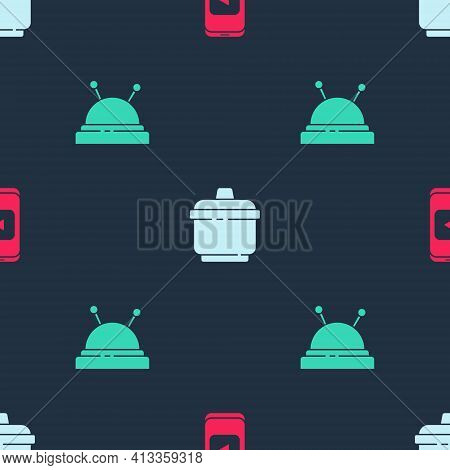 Set Online Play Video, Cooking Pot And Needle Bed And Needles On Seamless Pattern. Vector