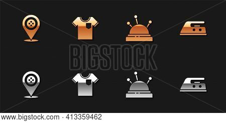 Set Location Tailor Shop, T-shirt, Needle Bed And Needles And Electric Iron Icon. Vector