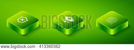 Set Isometric Eye Scan, Fingerprint And Shield With Cross Mark Icon. Vector