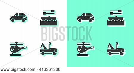 Set Tow Truck, Hatchback Car, Helicopter And Boat With Oars Icon. Vector