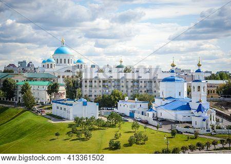 Russia, Kazan, August 24, 2019: Top View Of Orthodox Churches Top View Of Orthodox Churches And Resi