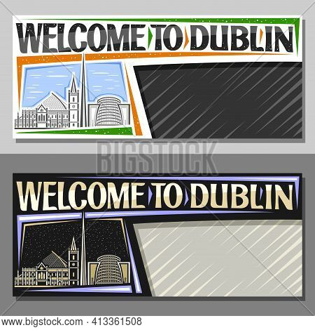 Vector Layouts For Dublin With Copy Space, Decorative Voucher With Illustration Of European Dublin C