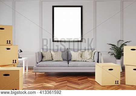 Minimalistic Living Room Interior With Stacks Of Moving Boxes And Vintage Sofa In Front Of White Can