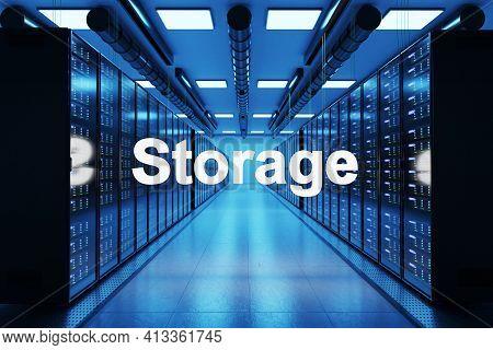 Storage Logo In Large Data Center With Multiple Rows Of Network Internet Server Racks, 3d Illustrati