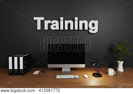 Clean Office Workspace With Computer Screen And Dark Concrete Wall; Training Lettering; 3d Illustrat