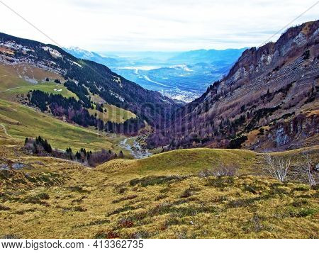 Alpine Pastures And Grasslands One The Slopes Of The Sevelerberg And Werdenberg Mountains, Sevelen -