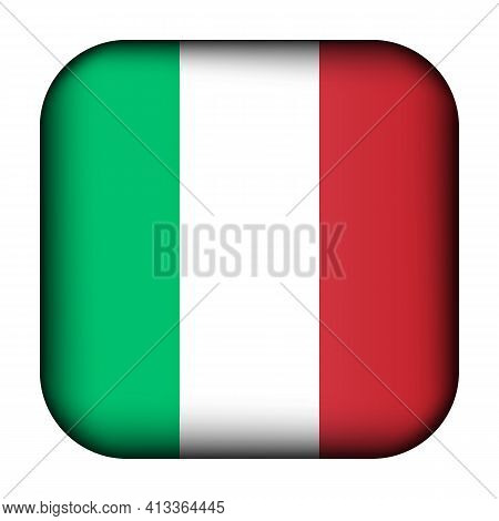 Glass Light Ball With Flag Of Italy. Squared Template Icon. Italian National Symbol. Glossy Realisti